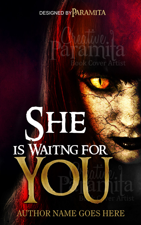 Book Cover Design Horror ~ She is waiting for you horror book cover design