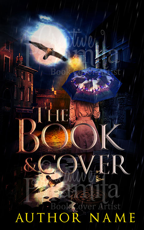 Illustrated Premade Book Covers : Rainy night premade book cover