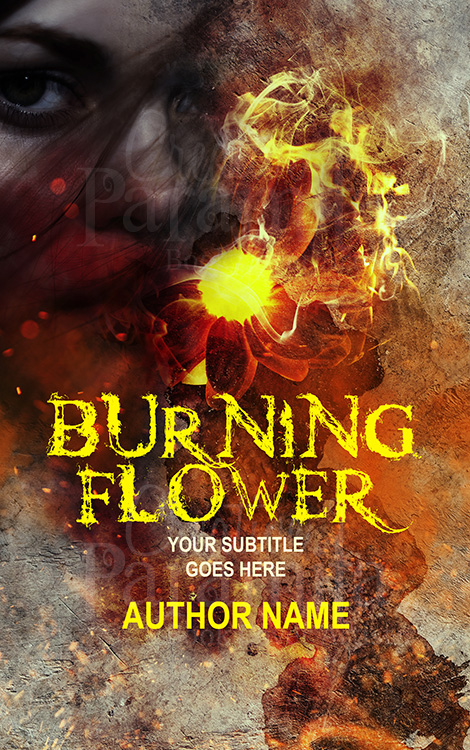 flower fire lady premade book cover