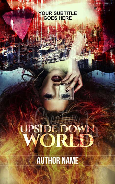 upside down girl premade book cover