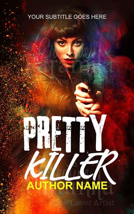 Spy lady holding gun premade eBook cover design