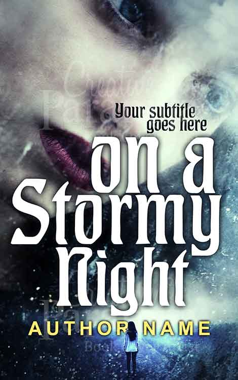 girl walking on a rainy night premade book cover