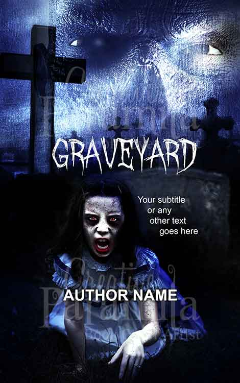 creepy zombie little girl and graveyard