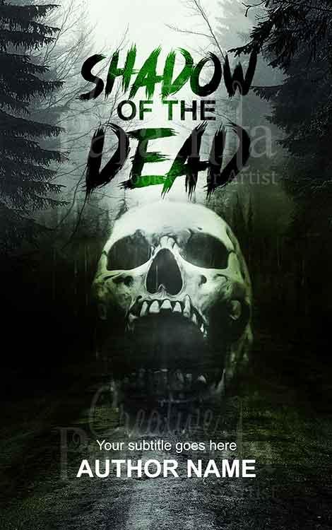 horror skull highway forest trees book cover